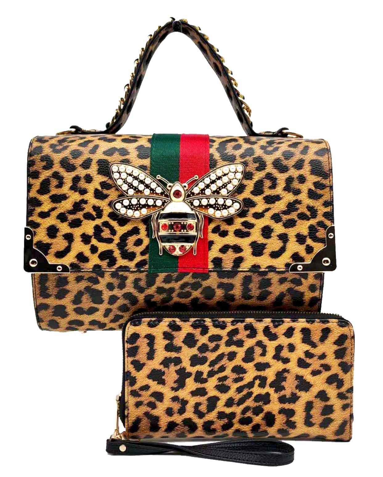 Leopard Bee Box Satchel, with Wallet
