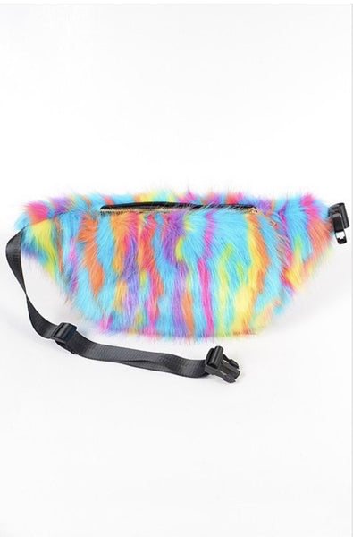 Multi Color Fur Belt/Crossbody Bag - Light Bright
