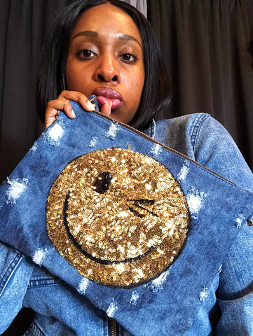 """Winking"" Denim Clutch"