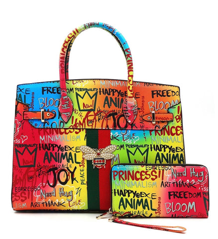 Graffiti Bee Satchel, with Wallet - Rainbow