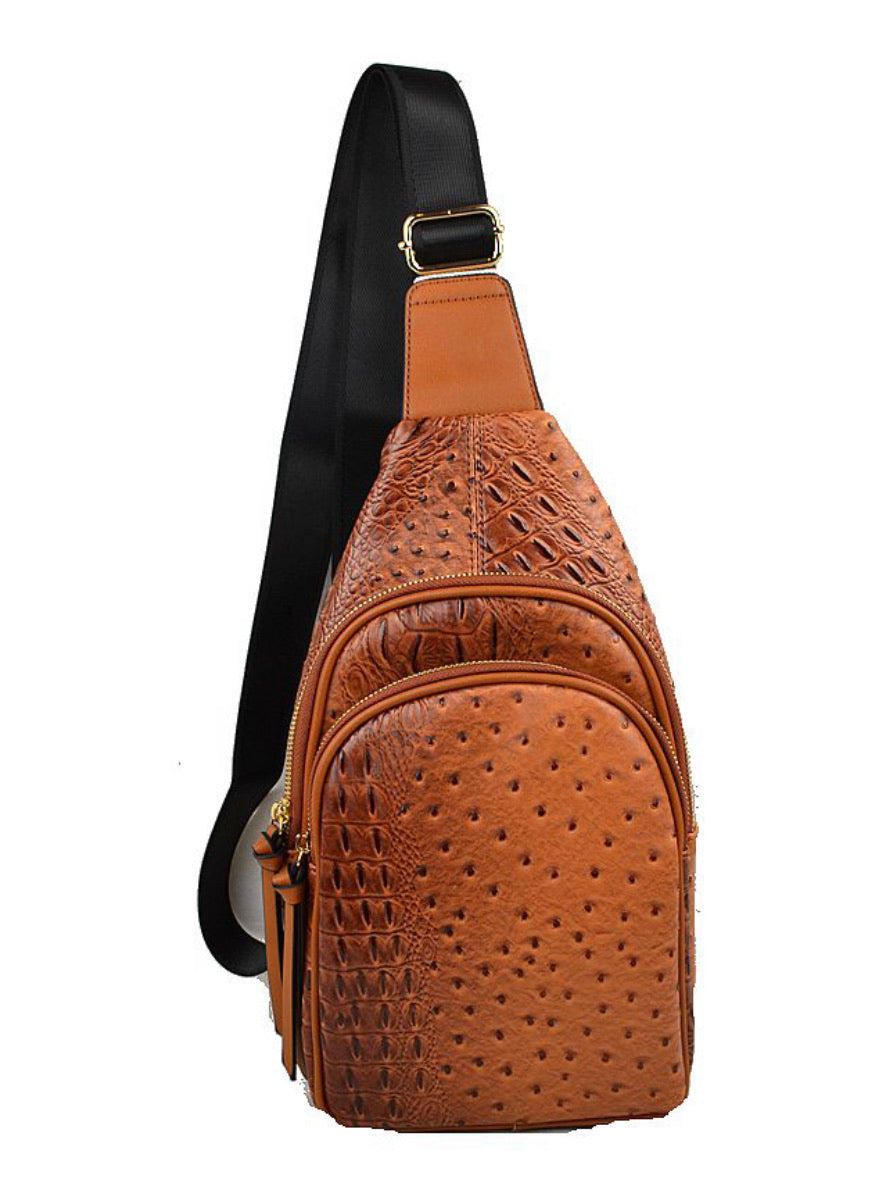 Croc Chest/Crossbody  - Camel
