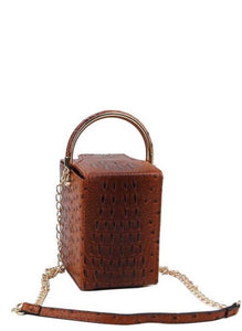 CROC PATTERN RECTANGULAR CROSSBODY BAG WITH CHAIN