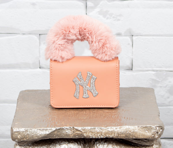 NY Fur Handle  Bag - Pink