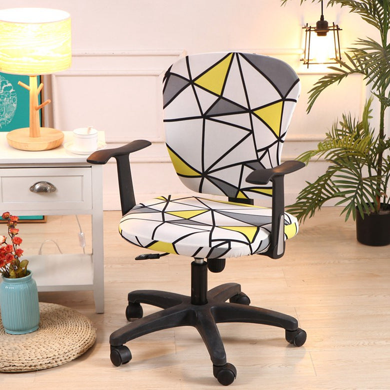 Printed Spandex Office Chair Cover ( 2 Pieces Set for Chair Back and Base)