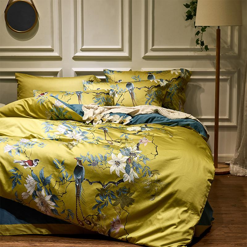 Chinoiserie Silky Cotton Duvet Cover Set (6 Pieces)