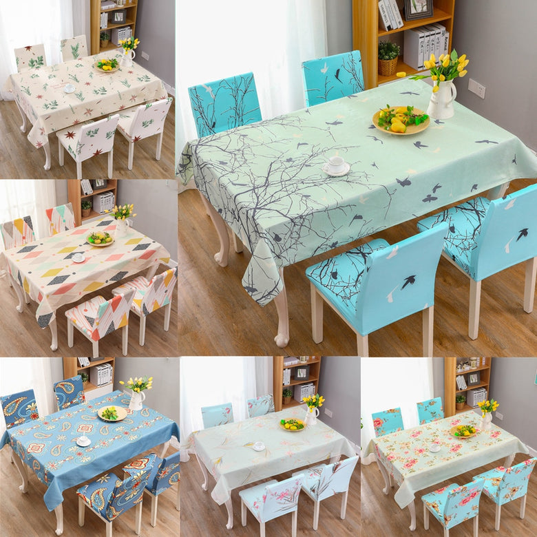 Fresh Style Table Cloth and Elastic Chair Seat Cover