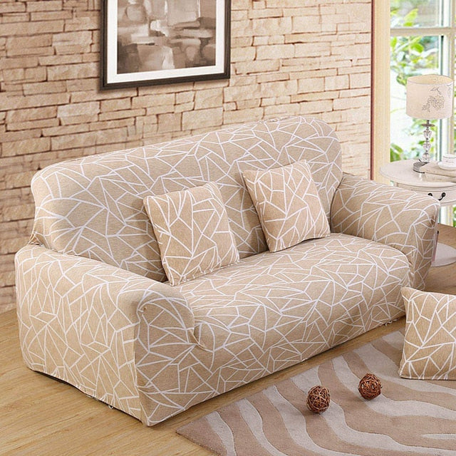 Beige Abstraction Sofa Cover