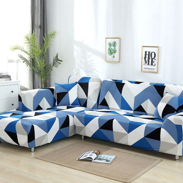 Blue White Triangles Sofa Cover