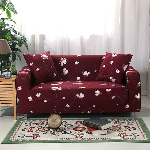 Dark Red Flowers Sofa Cover