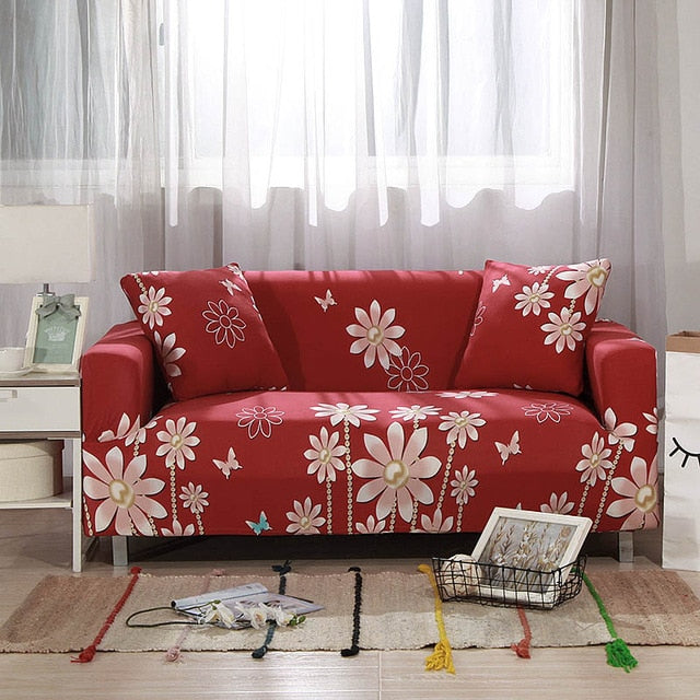 Red Flowers Sofa Cover