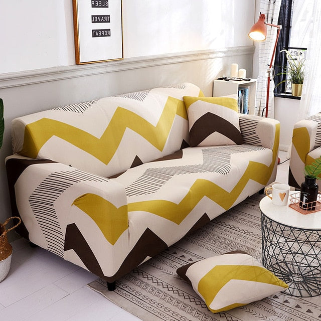 Yellow Lines Sofa Cover