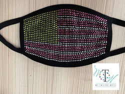 Bling Pink & Green Flag Mask