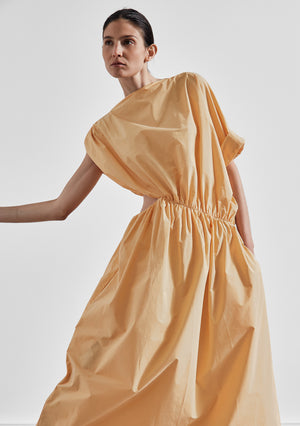 The Asymmetrical Gathered Dress with Cutout - Marigold