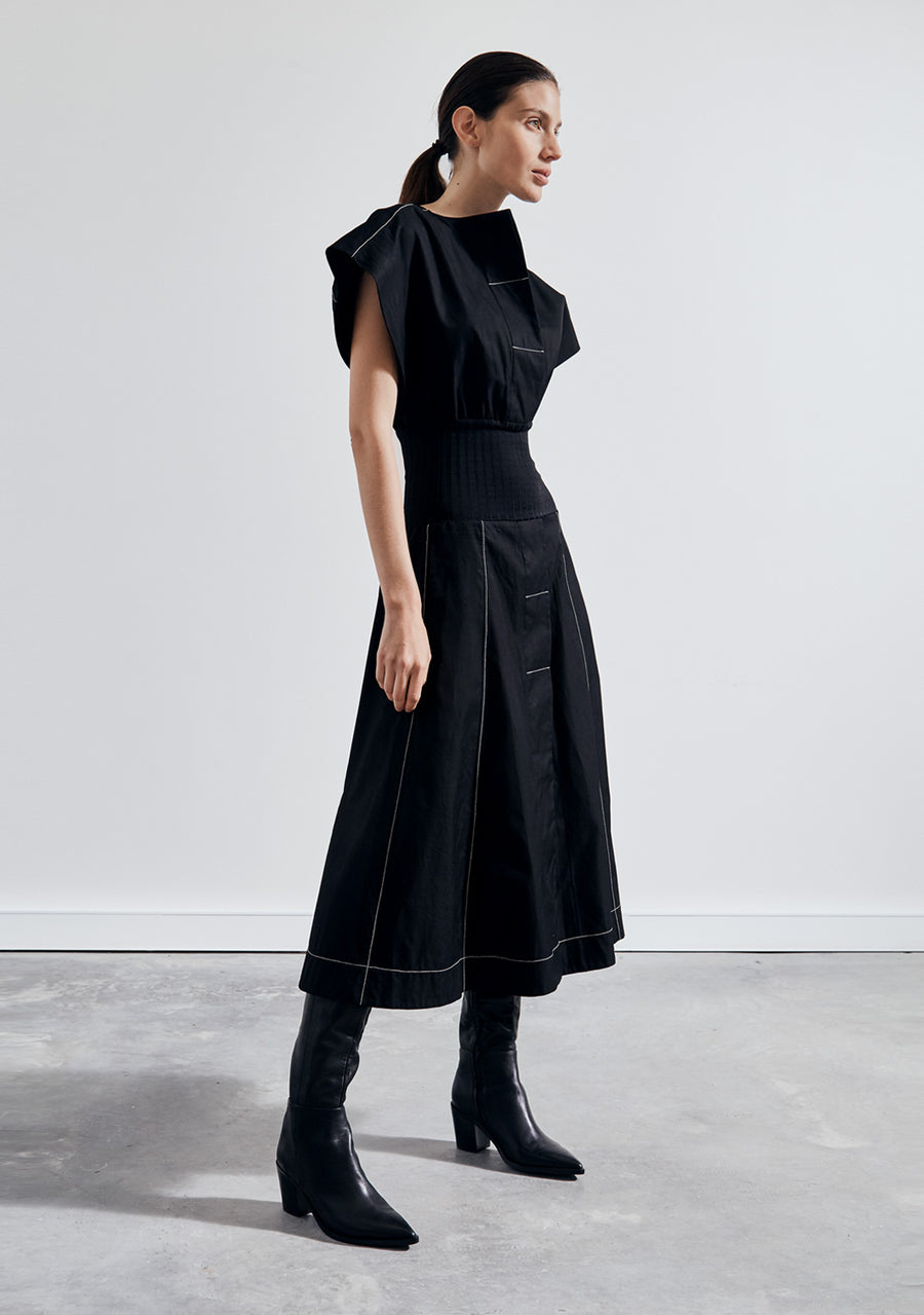 The Black Shirt Dress with Rib
