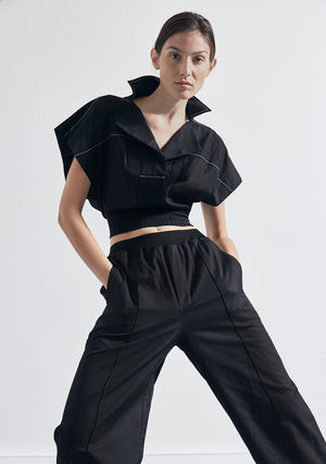 The Cropped Sleeveless Rib Shirt