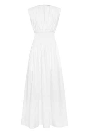 Cotton Rib Gathered Dress - Ivory