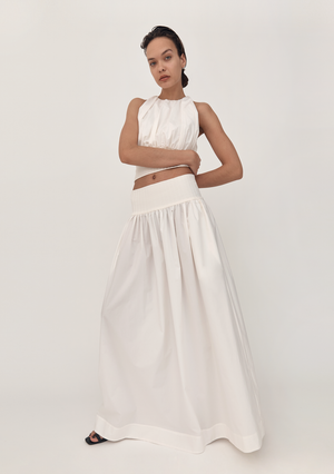 The Cotton Rib Skirt - Ivory