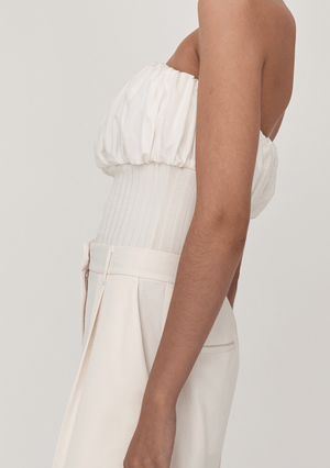 Cotton Rib Strapless Top - Ivory