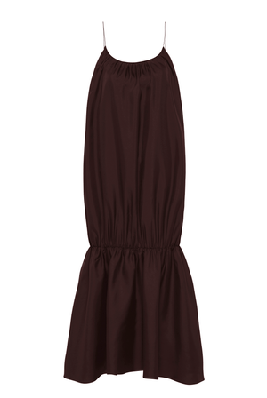 Gathered Strap Dress - Chocolate