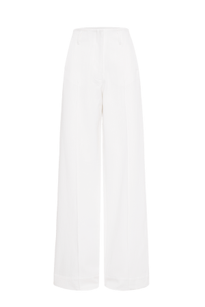 The Wide Leg Denim Trouser - Ecru
