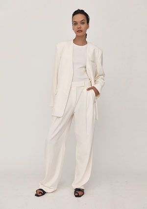 Collarless Blazer - Ivory