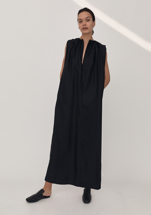 Gathered Split Neck Dress