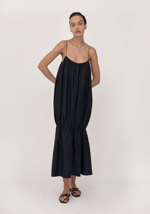 Gathered Strap Silk Dress