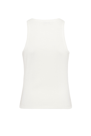 High Neck Rib Tank Top - Ivory