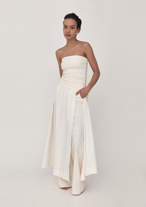 Strapless Knit & Cotton Maxi Dress - Ivory