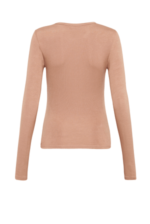 Long Sleeve Crew Top - Latte