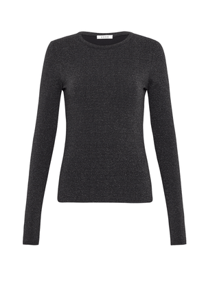 Long Sleeve Crew Top - Metallic Black