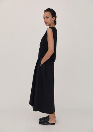 One Shoulder Cotton Dress - Black