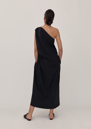 One Shoulder Cotton Dress - Butter