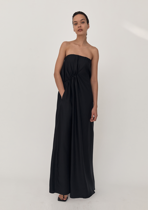 Gathered Strapless Silk Dress