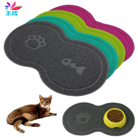 Cat Bowl Mat Dog Pet Water Feeding Food Dish Tray Wipe Clean Floor PVC Placemat  MAR24_15