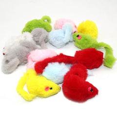 Westrice Long-haired variety of colors rabbit tail feathers cat toy mouse bite amused Cats Mice Toys 20 Pieces 3CM