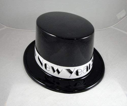 12 Happy New Year Top Hats - Black and White