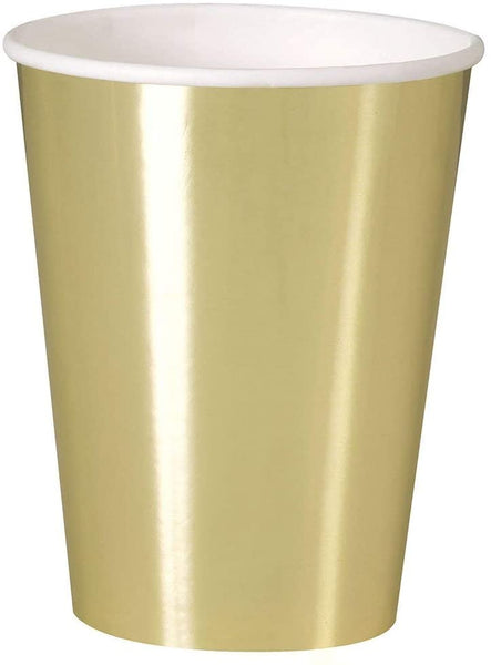 12oz Foil Gold Paper Cups, 8ct