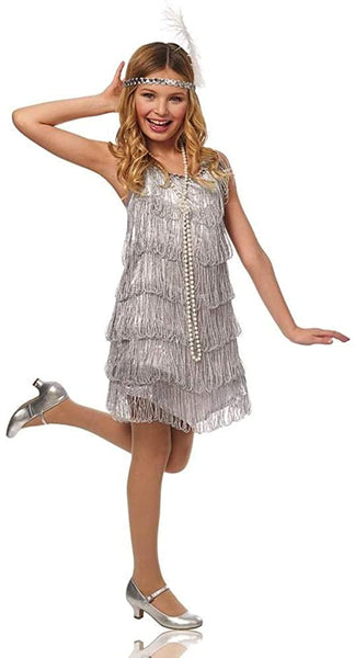 Flapper Kids Costume Silver - Small