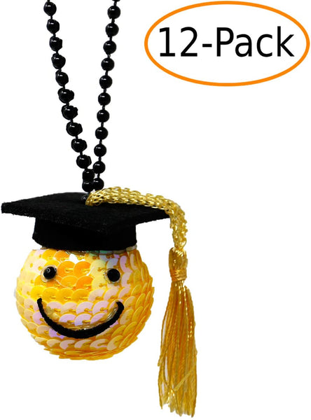 Graduation Cap Sequined Happy Face Beaded Necklace Party Favor (12 Pack)