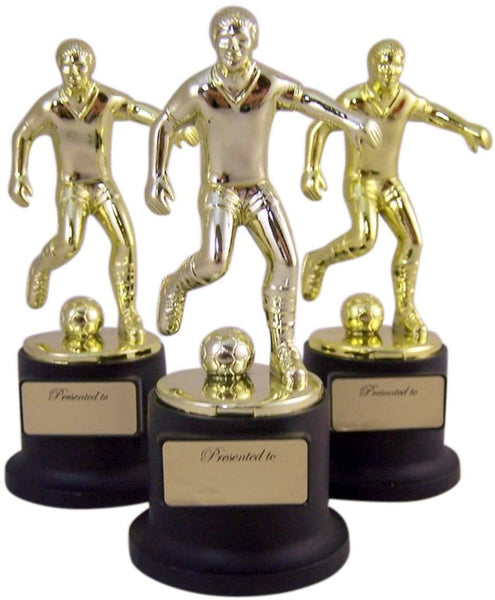 Pack of 3 Black and Gold Sports Award Trophies for Teachers and Kids, 5 Inch (Soccer)
