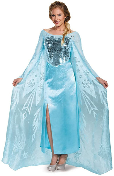 Disguise Women's Elsa Ultra Prestige Adult Costume, Blue, Small