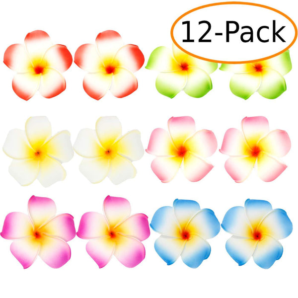 "3.5"" Hawaiian Plumeria Foam Flower Hair Clips Assorted 12 ct"