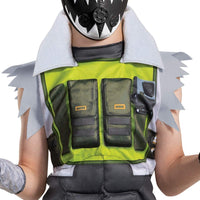 Apex Legends Octane Costume, Video Game Inspired Muscle Padded Jumpsuit and Mask
