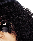 Curly Black Rocker Wig Costume Accessory