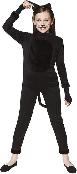 Girl's Cat Suit Costume - for Halloween, Costume Party Accessory - Black