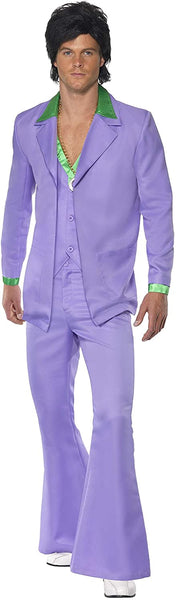 Smiffy's Men's 1970's Suit Costume Jacket with Mock Shirt and Waistcoat Trousers