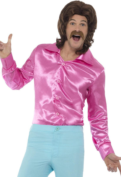 Mens 60s 70s Groovy Dude Pink Disco Shirt Costume