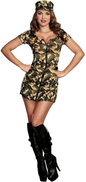 Sexy Army Babe Camo Zip Front Uniform Dress Outfit Military Costume Adult Women