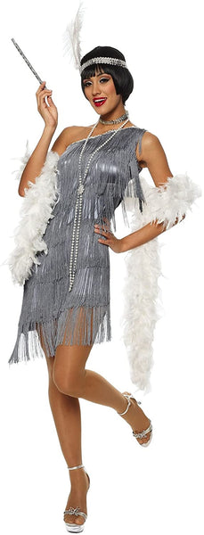 Dazzling Gun Metal Flapper Adult Costume Size Medium